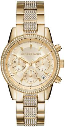 Michael Kors Chronograph Ritz Stainless Steel Gold-Tone Bracelet Watch