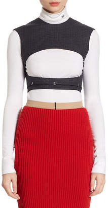 Calvin Klein Wool Checked Cropped Top