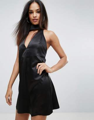 Rare Choker Neck Skater Dress