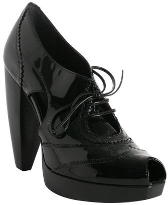 Fendi black patent leather peep-toe booties