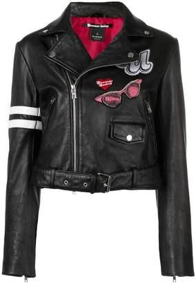 Pinko patch detail biker jacket