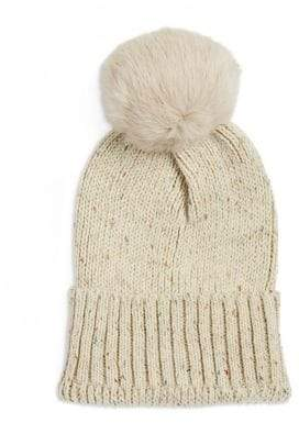 Adrienne Landau Rabbit Fur Knitted Beanie