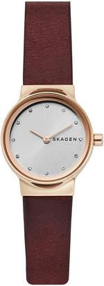 Skagen Women's Freja Red Leather Strap Watch 26mm