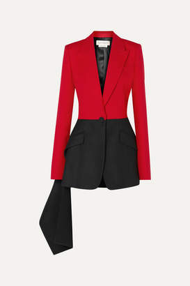 Alexander McQueen Draped Grain De Poudre Wool-blend And Felt Blazer - Black