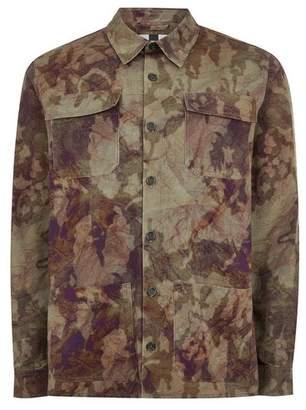 Topman Mens Khaki Camouflage Long Sleeve Overshirt