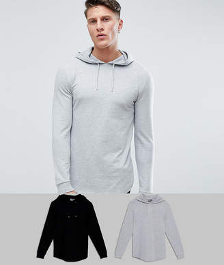 Asos DESIGN Longline Muscle Fit Hoodie 2 Pack With Curved Hem In Black/Gray Marl SAVE