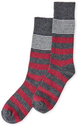 Lorenzo Uomo Cashmere Blend Rugby Striped Crew Socks