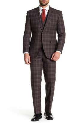 English Laundry Brown Tartan Two Button Notch Lapel Vested Wool 3-Piece Suit