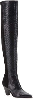 Aquazzura Anaconda-Print Leather & Suede Thigh-High Boots