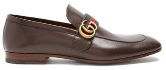 Gucci Donnie Gg Leather Loafers - Mens - Brown