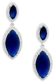 Saks Fifth Avenue Crystal, Sapphire and Sterling Silver Double Drop Earrings