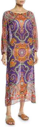 Etro Printed Viscose Long-Sleeve Coverup Long Tunic