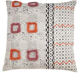 Saro Geometric Block Print Tufted Pillow in , Cover Only Saro