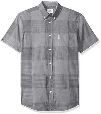 Ben Sherman Men's Short Sleeve Textur Micro Gingham Woven