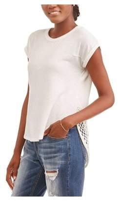 Thyme and Honey Women's Short Sleeve Hi-Lo Lace Hem T-Shirt