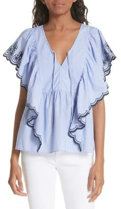 Kate Spade daisy embroidered cotton top