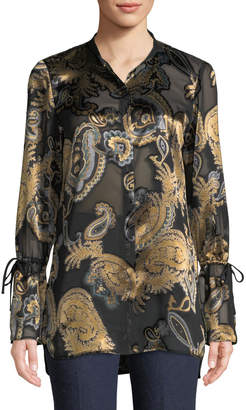 Lafayette 148 New York Desra Long-Sleeve Renaissance Paisley Blouse