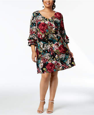 Connected Plus Size Floral Bell-Sleeve Dress