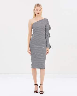 Frill Sleeve Asymmetric Dress