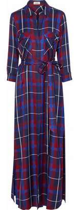 L'Agence Cameron Checked Twill Maxi Shirt Dress