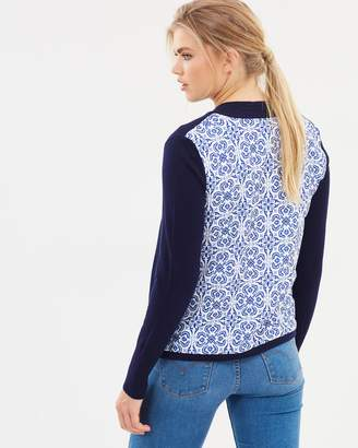 Oasis Tile Printed Woven Back Cardigan