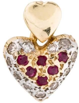 14K Diamond & Ruby Heart Pendant