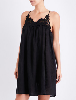 Seafolly Lace detail crinkled-cotton swing dress $90 thestylecure.com
