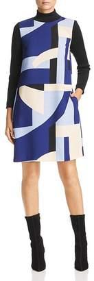 Marella Werner Rib-Detail Geo-Print Shift Dress
