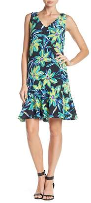 Karen Kane V-Neck Flounce Ruffle Hem Print Dress