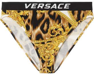 3e62f5ed46 ... Versace Printed Stretch-jersey High-rise Briefs - Marigold