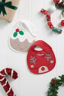 Next Red/Ecru 2 Pack Christmas Pudding And Reindeer Bibs - Red
