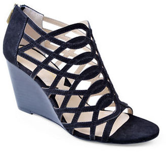 Adrienne Vittadini Andre Suede Wedge Sandals $89 thestylecure.com