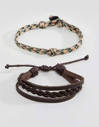 ICON BRAND Leather & Corded Brown Bracelet In 4 Pack