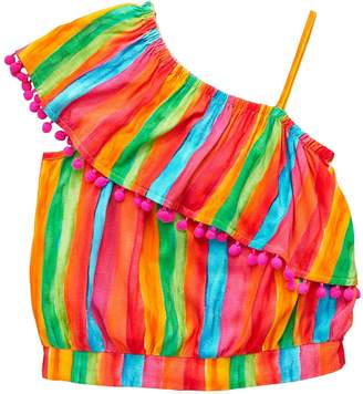 Very Girls Rainbow Stripe One Shoulder Blouse
