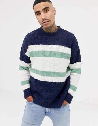Asos Design Knitted Jumper With Blocked Stripes In Navy