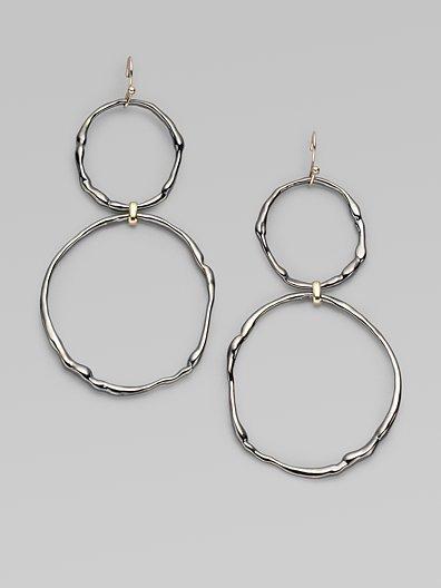 Alexis Bittar Double Circle Drop Earrings/Gunmetal