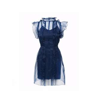 Shopyte - Midnight Blue Silk Organza Dress