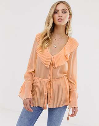 Asos Design DESIGN long sleeve pleated detail top with open tie front