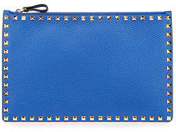 Valentino Rockstud Large Leather Zip Pouch Bag