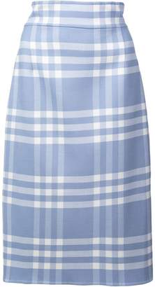 Oscar de la Renta checked pencil skirt
