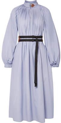 Tibi Isabelle Belted Pleated Striped Poplin Midi Dress - Sky blue