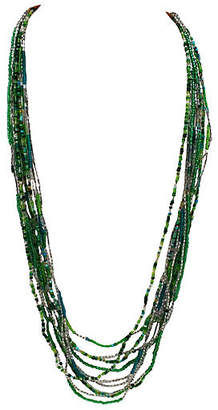 One Kings Lane Vintage 10-Strand Green Seed Bead Necklace - Thanks for the Memories