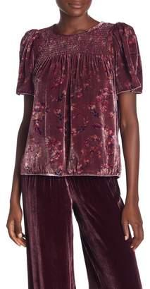 Rebecca Taylor Short Sleeve Velvet Print Blouse