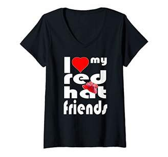 Womens Red Hat Society Love My Red Hat Friends Vintage Style Gift V-Neck T-Shirt
