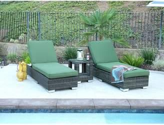 Brayden Studio Deguzman Double Sun Lounger Set Group with Cushion with Table Brayden Studio