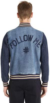 Ports 1961 Follow Me Two Tone Denim Bomber Jacket