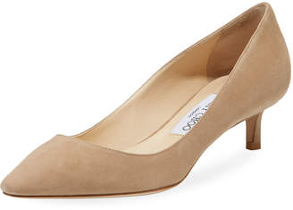 Jimmy Choo Romy 40mm Low-Heel Suede Pumps