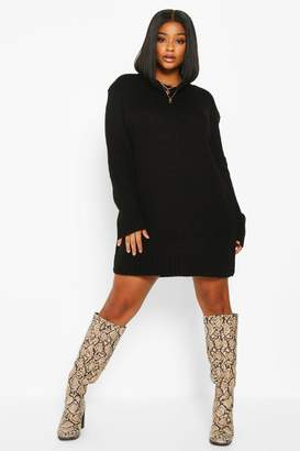 boohoo Plus Crew Neck Knitted Jumper Dress