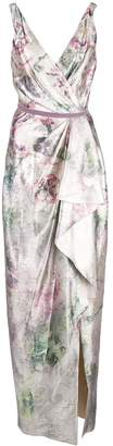 Marchesa shiny floral print draped gown