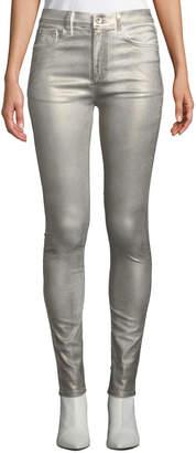 Rag & Bone High-Rise Coated Metallic Ankle Skinny Jeans